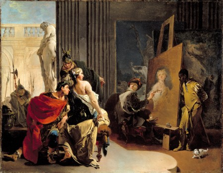 "Giovanni Battista Tiepolo, ""Apelles Painting the Portrait of Campaspe,"" c. 1726, oil on canvas, The Monreal Museum of Fine Arts, Adaline Van Horne Bequest"