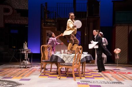 Adriana (Omoze Idehenre) tries to reason with Dromio of Harlem (Rodney Gardiner) as Gustave (Mark Murphey) and Luce (Mildred Ruiz-Sapp) try to minimize damage.  Photo: Jenny Graham.