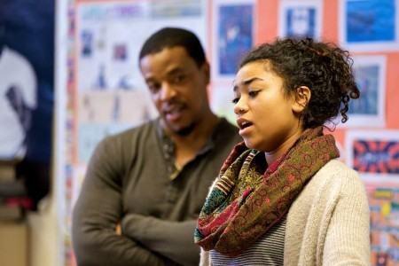 """""""Grimm"""" star Russell Hornsby works with contestant Sekai Edwards. Photo: August Wilson Red Door Project"""