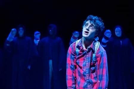 "Mortimer (Blake Peebles) and the worms in ""Zombie."" Photo: Owen Carey"