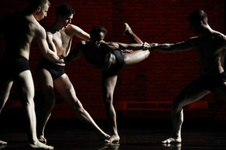 """Davalois Fearon  in the middle of Stephen Petronio's """"Like Lazarus Did""""/photo by Julieta Cervantes"""