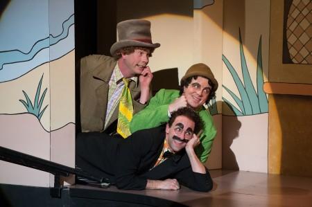 """Harpo (Brent Hinkley), Chico (John Tufts) and Groucho (Mark Bedard) in """"The Cocoanuts."""" Photo: Jenny Graham."""