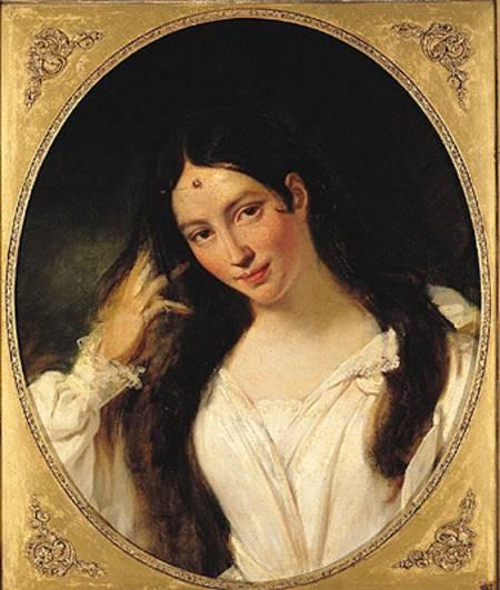 """François Boucher, """"Portrait de la Malibran en Desdémone,"""" 1834, oil on canvas, Musée de la vie romantique, on long-term loan from the Louvre."""