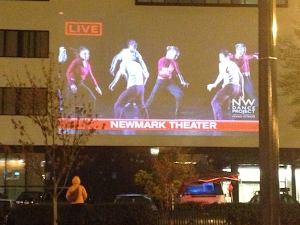 Thursday night's simulcast on the side of downtown's Jive Building. Photo: NWDP