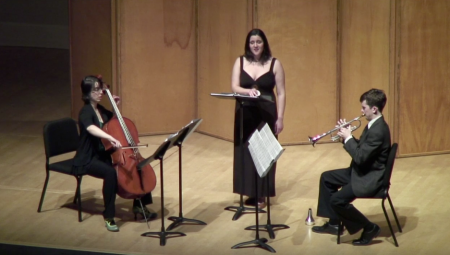 Jacob Walls' Sol de invierno (2013) performed by Estelí Gomez, soprano; Diana Rosenblum, cello; Jacob Walls, trumpet Photo credit Eugene Contemporary Chamber Ensemble