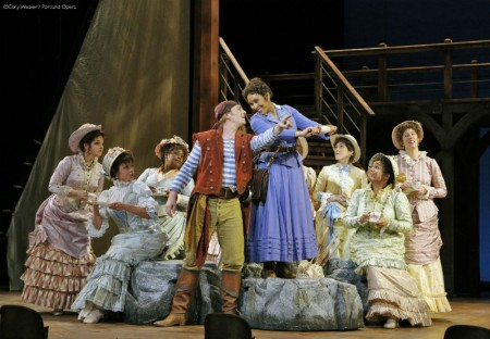MacPherson, Trevigne, and the major-general's daughters. Photo: Cory Weaver/Portland Opera
