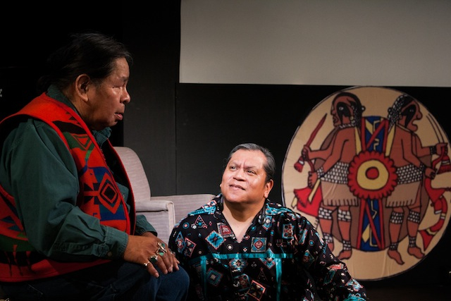 Ed Edmo and M. Cochise Anderson share folklore before kicking Jim Pepper jams.