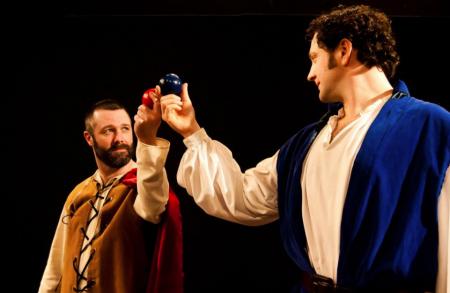 "Turner (left) as Iachimo in ""Cymbeline,"" with Tom Walton"