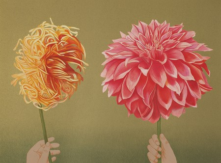"""San Francisco Dahlias,"" 1995. Edition of 57. Artist's Proof 5/6. Lithograph, screen print, 24 x 32 5/8 inches"