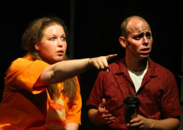 Jen Rowe and J.R. Wickman play a full-grown brother and sister with childish ways.