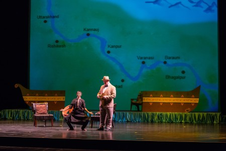 The production tracked the voyage on the Ganges with projections/Courtesy of Anita Menon
