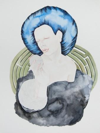 Lindsay Jordan Kretchen, Ariadne, Ink and watercolor on paper, 2014.