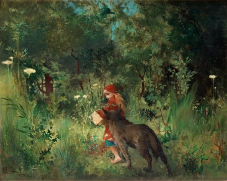 "Carl Larsson, ""Little Red Riding Hood and the Wolf in the Forest,"" 1881, oil on canvas, 14.6 x 17.7 inches/Wikimedia Commons"