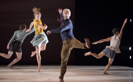 "From left: Lindsey Matheis, Samantha Campbell, Franco Nieto, and Ching Ching Wong in the world premiere of Minh Tran's ""Unexpected Turbulence."" Photo: Blaine Truitt Covert"
