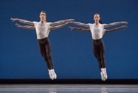 """Brian Simcoe and Chauncey Parson (foreground), Adam Hartley and Jordan Kindell (background) in Balanchine's """"Agon."""" Photo: Blaine Truitt Covert"""