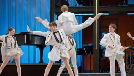 """From left: Katherine Monogue, Eva Burton, Chauncey Parsons (leaping), Michael Linsmeier in Nicolo Fonte's """"Never Stop Falling (In Love)."""" Photo: Blaine Truitt Covert"""