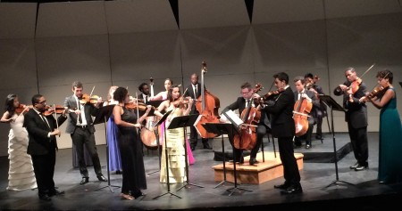 "Violinist Jessie Montgomery (center, black dress) led Sphinx's performance of her new ""Banner."""