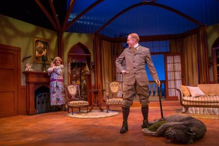 Lamb as Lady Enid, Norby as Lord Edgar: crying wolf. Photo: Owen Carey