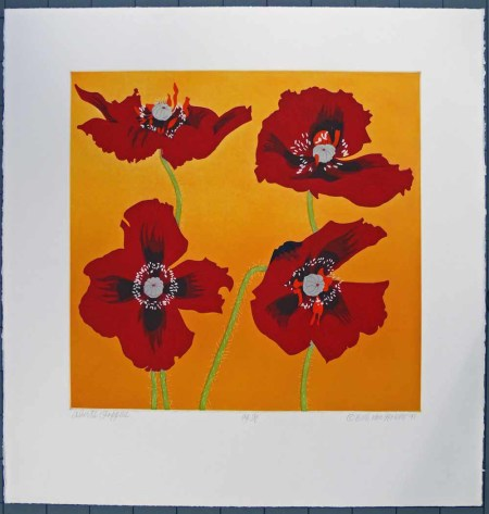 """Beth Van Hoesen (American, 1926-2010), """"Albert's Poppies,"""" 1991, color aquatint, etching, and drypoint, hand colored with watercolor and gouache on moderately thick, moderately textured white wove paper, Gift of the E. Mark Adams and Beth Van Hoesen Adams Trust, © Beth Van Hoesen, 2007.60.379. Portland Art Museum"""