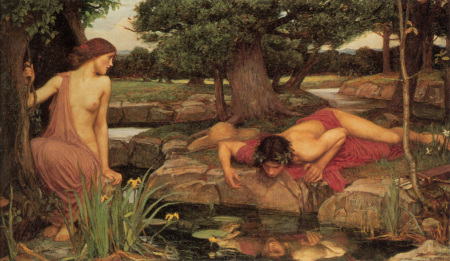 """""""Echo and Narcissus,"""" John Price Waterhouse, 1903, oil on canvas, 43 x 74.5 inches, Walker Art Gallery, Liverpool, England. Wikimedia Commons"""