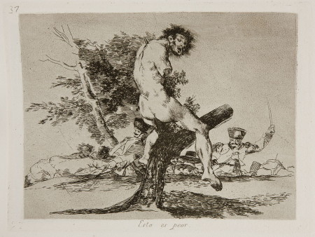 """Few artists have been as brutal in their social commentary as Goya in his """"Disasters of War"""" series, of which this print is No. 37. Titled """"This Is Worse,"""" it depicts the mutilated bodies of civilians skewered on trees in the aftermath of battle. Wikimedia Commons"""
