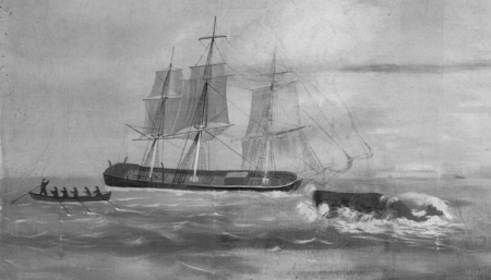 "Wreck of the Essex. Detail of ""Whaling Voyage Round the World,"" ca.1848, a panorama by Benjamin Russell and Caleb P. Purrington. Wikimedia Commons"