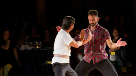 Jennifer Lacey and Wally Cardona. Cardona is part of PICA's first Creative Exchange Lab./Photo by Ian Douglas