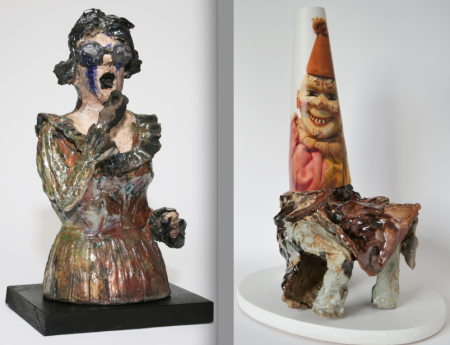 "Left: ""Foie Gras,"" 2007; raku fired ceramic sculpture, 18.5 x 9 x 9 inches. Right: ""Brown Bathrobe,""  2014; print on archival paper, broken ceramic sculpture, wood base, epoxy, 18 x 13 x 9 inches."
