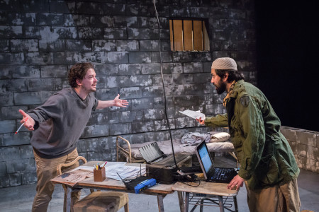 """Connor Toms and Imran Sheikh in ART's """"The Invisible Hand""""/Owen Carey"""