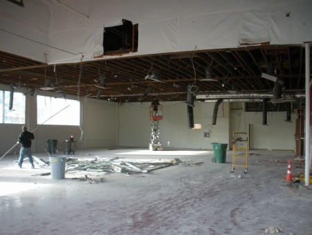 The main studio during construction. Courtesy Northwest Dance Project.