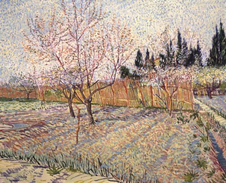 """Paul Allen owns """"Orchard with Peach Trees in Blossom,"""" by Vincent van Gogh (1888), which will be part of """"Seeing Nature: Landscape Masterworks from the Paul G. Allen Family Collection."""""""