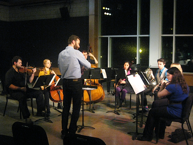 UO student composers organize, and often perform, or conduct, their work in public concerts. Photo: Gary Ferrington.