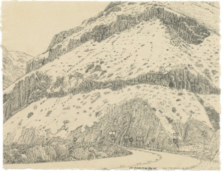 "Christy Wyckoff, ""Picture Gorge, NW End,"" 2014, ink on Ruscombe Stone laid paper, 10 x 12 inches./Courtesy Christy Wyckoff"