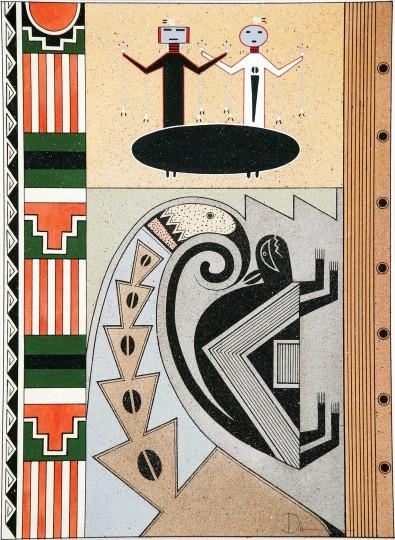 """Anthony Edward """"Tony"""" Da (San Ildefonso Pueblo, 1940-2008), """"Symbols of the Southwest,"""" 1970, tempera on paper, 19.5 x 14.75 inches."""