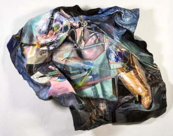 Through The Wind Shield by Morgan Buck, 2015; muslin, acrylic, organza, wire mesh, and pins; 85 x 70 x 48 inches. Courtesy the artist and OCAC. Photo by Jason Horvath.