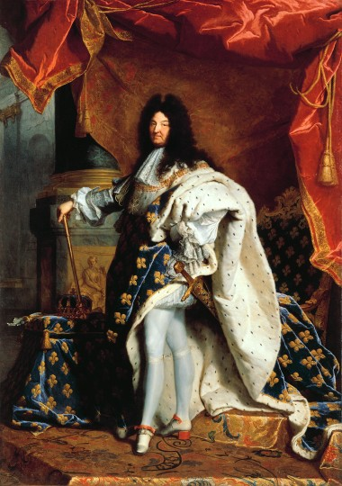 "Hyacinthe Rigaud's original portrait of Louis XIV, 1702, oil on canvas, 109.1 x 76.4 inches, in the Louvre Museum. A giant copy, painted before 1838, is a centerpiece of ""Gods & Heroes."""