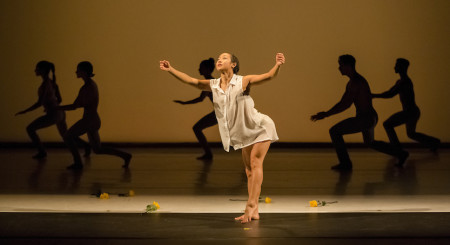 "NW Dance Project dancer Ching Ching Wong and company in the world premiere of Lucas Crandall's ""Preludes  1-6""/Blaine Truitt Covert"