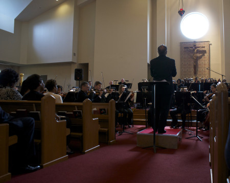 "Neal Gittelman conducted the Dayton Philharmonic as it played Niel DePonte's ""With Grace and Justice for All"" in St. Margaret's Episcopal Church/Niel DePonte"