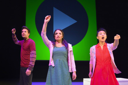 L–R: Joel Bernard, Dominique Salerno, and Christina Liang in ACT's production of Caryl Churchill's Love and Information. Photo: Kevin Berne.