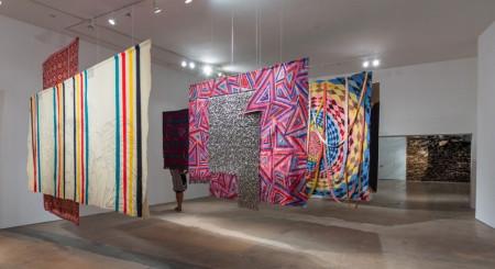 Marie Watt's blankets at SITE Santa Fe. Eric Swanson Photograsphy