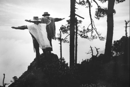 """""""Praying to Mixe God, Oaxaca, Mexico,"""" Sebastiæo Salgado. 1980. Vintage silver gelatin print. Collection of William and Anne Frej."""