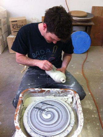 Chris Lyon, co-founder of Mudshark Studios and Eutectic Gallery takes a break from work to create his own body of work. Photo by Grace Kook-Anderson