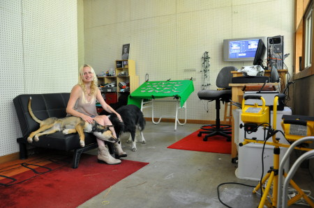 Julia Oldham and assistants in her south Eugene studio. Photo: Sabina Poole
