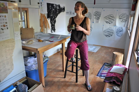 Renee working inside her studio space./Sabina Poole