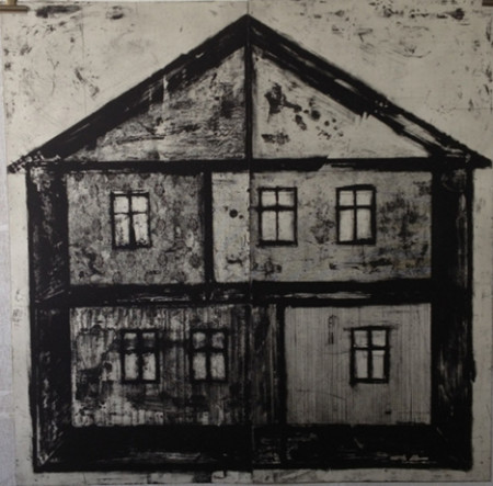 "Ritsuko Ozeki, ""House"", Print etching, aquatint    39 x 39 in./Courtesy of Froelick Gallery"