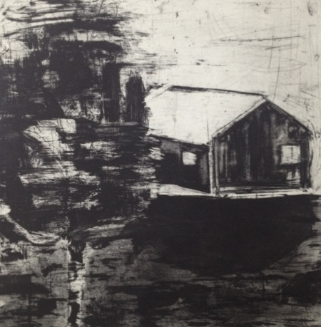 "Ritsuko Ozeki, ""Landscape-river"", Print etching, aquatint    20 x 20 in./Courtesy of Froelick Gallery"
