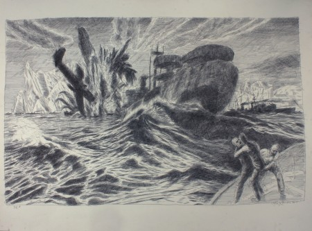 """Henk Pander, """"The Convoy PQ-18 with Liberty Ship"""", pen and ink/Courtesy of Henk Pander"""