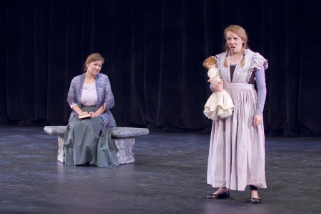 "Emily Way as Flora and Laura Wayte as Governess in Eugene Opera's production of Benjamin Britten's ""The Turn of the Screw."" Photo: Cliff Coles / Eugene Opera."