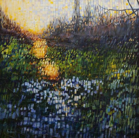 Theresa Andreas-O'Leary's Morning Has Broken, acrylic and paper, 24 by 24 inches.