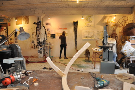 Christine Bourdette and helper, getting industrious in the studio. Photo: Sabina Poole